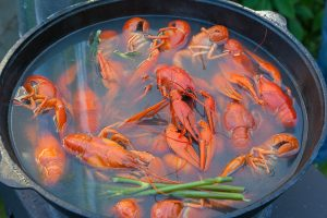 Boiled crayfish in a large cast-iron pot